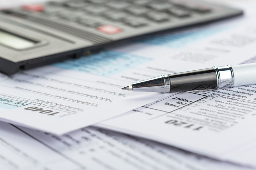 Tax forms, close up 1163989938