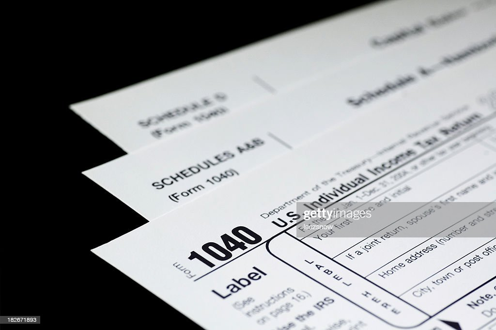 Tax Forms on Black : Stock Photo