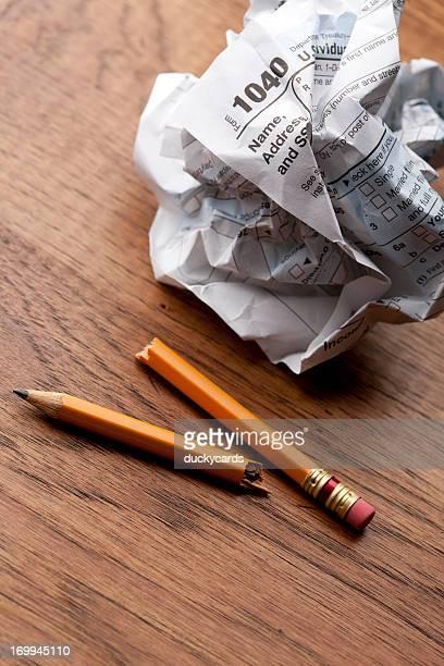 Tax Frustration - 1040 Form and Broken Pencil