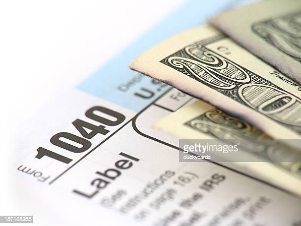 tax refund - 1040 tax form stock photos and pictures