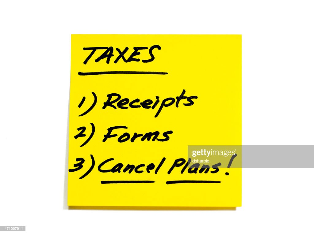 tax todo list series receipts forms cancel plans stock photo getty