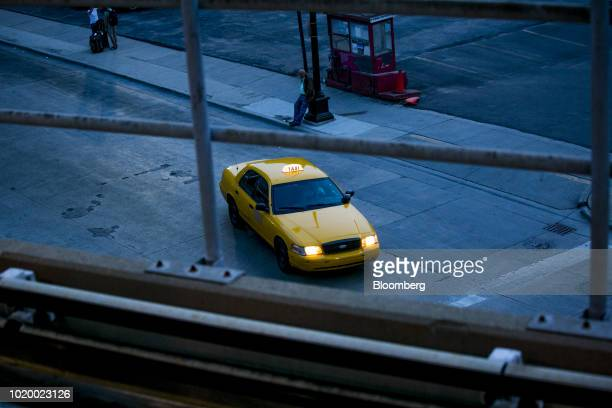 A taxi cab exits the Rosa Parks Transit Center in Detroit Michigan US on Tuesday Aug 14 2018 Detroit ranks in the top 7 percent for traffic...