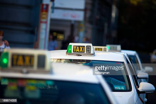 taxi cabs in madrid, spain - taxi stock pictures, royalty-free photos & images