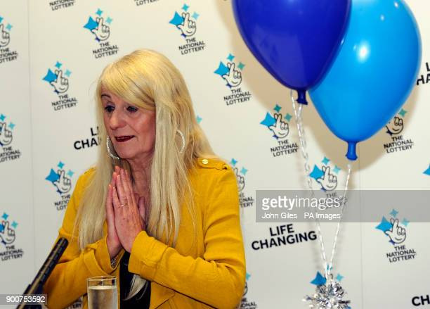 Taxi driver Melissa Ede celebrating during a photocall at Willerby Manor Hotel in Hull after her pound4m Scratchcard win on New Year's Day