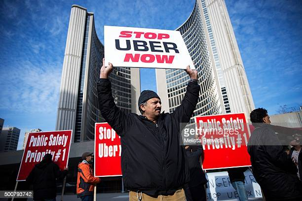 TORONTO ON DECEMBER 9 Taxi driver Mohammad Din protests against Uber in front of City Hall