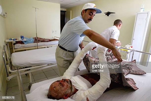 Taxi driver Salach Saad is treated in a local hospital July 2005 in the Sinai resort town of Sharm elSheikh Egypt At least 88 people were killed and...