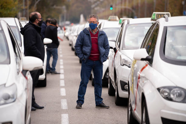 ESP: Taxi Drivers Demonstrate In Madrid