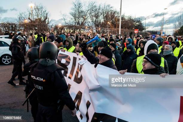 Taxi drivers protesting against transport services such as Uber and Cabify as tourism exhibition FITUR starts