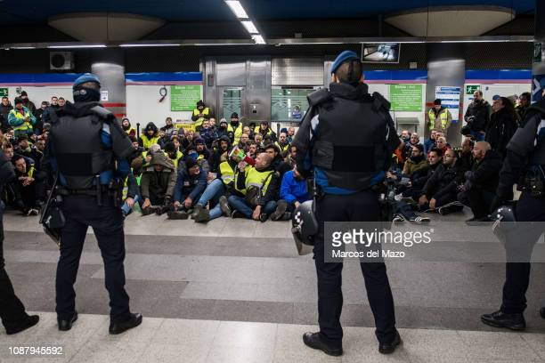 Taxi drivers protesting inside subway station against transport services such as Uber and Cabify as tourism exhibition FITUR takes place in IFEMA...