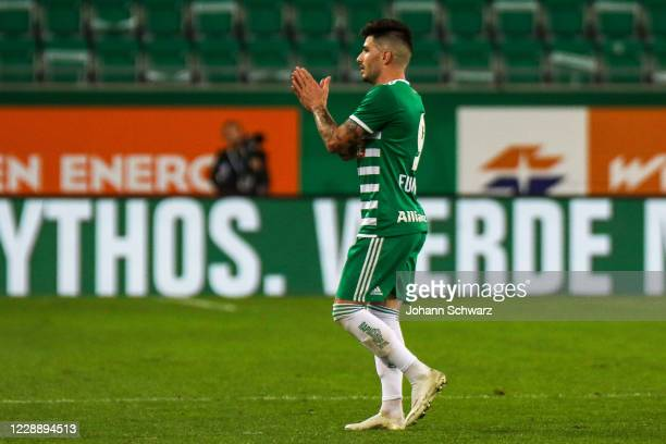 Taxi Fountas of Rapid applaud fans during the tipico Bundesliga match between SK Rapid Wien and LASK at Allianz Stadion on October 4 2020 in Vienna...