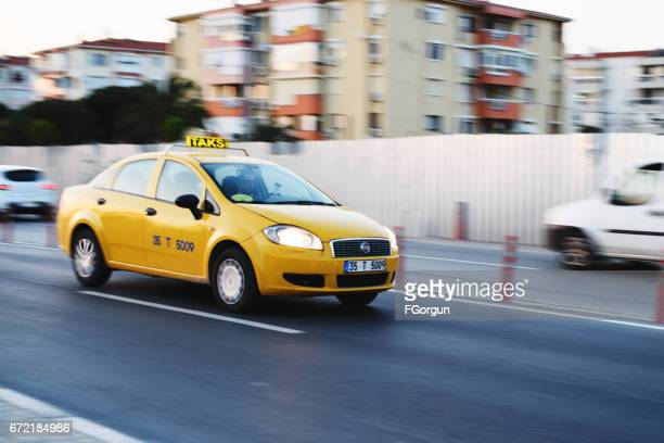 taxi in izmir - yellow taxi stock pictures, royalty-free photos & images