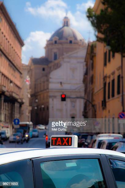 Taxi on a street in Rome, Italy