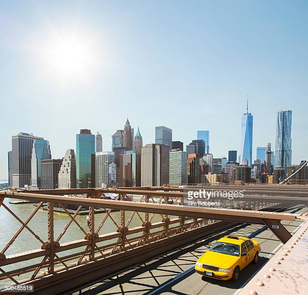 Taxi on The Brooklyn Bridge in New York.