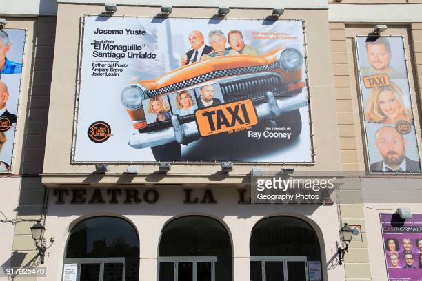 Taxi poster billboard advert Teatro la Latina theatre playhouse Madrid city centre Spain