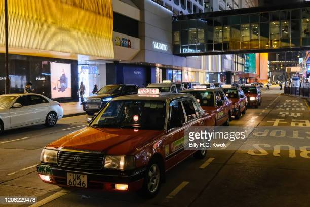 Taxi queue in line during a coronavirus outbreak on March 26 2020 in Hong Kong China Latest statistics showed Hong Kong tourist arrivals plunge more...