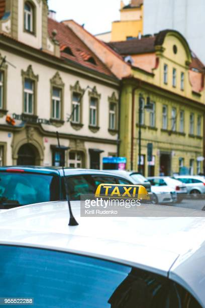 Taxi Roof Sign on top a cab in Prague, Czech Republic