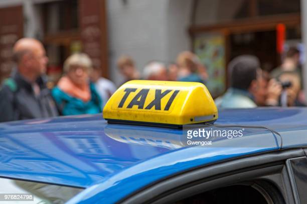 taxi sign from prague - gwengoat stock pictures, royalty-free photos & images
