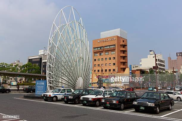taxi stand at jr yonago station in tottori prefecture, japan - yonago stock photos and pictures