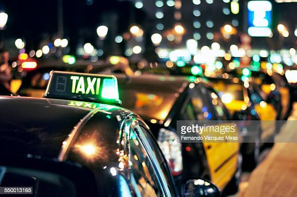 Taxi stop at night in Barcelona