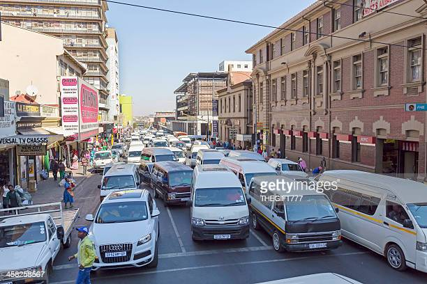 Taxi traffic jam in Johannesburg city