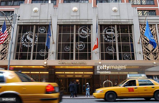 Taxi traffic moves along on 7th Avenue in front of the Sheraton Hotel's main entrance in midtown Manhattan on Wednesday October 26 in New York City...