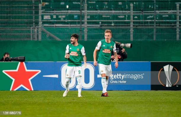 Taxiarchis Fountas of Rapid Vienna celebrates after scoring his sides first goal during the UEFA Europa League Group B stage match between Rapid Wien...