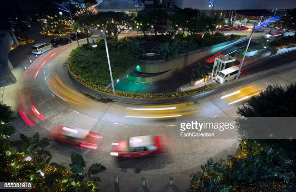 Taxicabs arriving and departing at Central District of Hong Kong