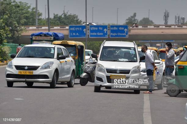 Taxis and cabs seen on the road after government eased lockdown restriction at AIIMS on May 20 2020 in New Delhi India