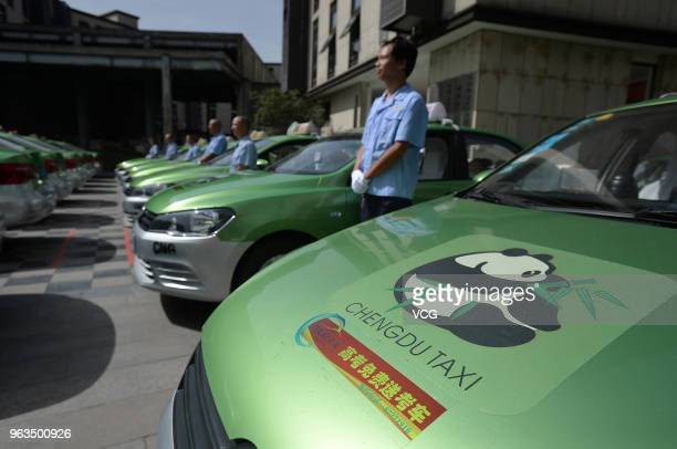 30 taxis and drivers line up during a launch ceremony of a public welfare activity held by Chengdu Taxi at a college students pioneer park on May 28...