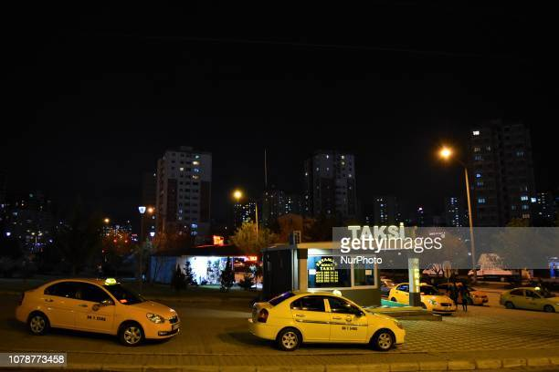 Taxis are parked in front a cabstand in Ankara Turkey on late January 4 2019