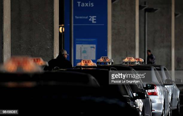Taxis line up to wait for passengers at the CharlesdeGaulle at Airport Roissy Charles de Gaulle on April 16 2010 in Paris France CharlesdeGaulle...