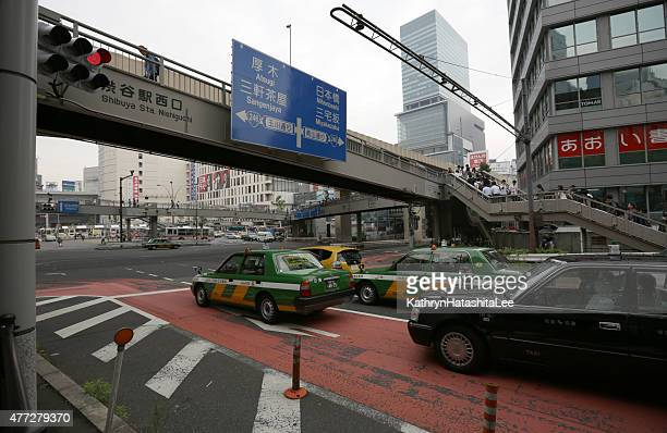 Taxis Near Shibuya Station's Bus Loop, Tokyo, Japan, Spring Afternoon