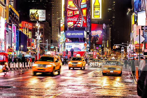 Taxis on 7th Avenue at Times Square, New York City
