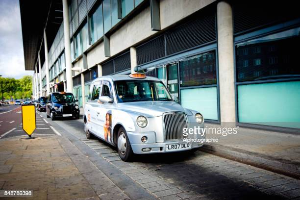 Taxis parked outside a Kings Cross building