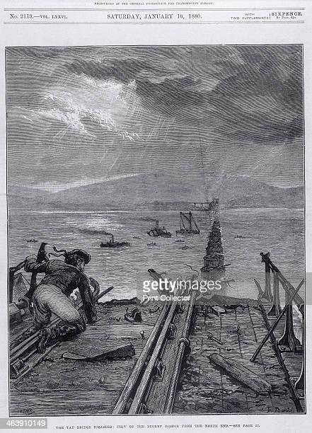 Tay Bridge disaster Scotland 28 December 1879 Illustration taken from the Illustrated London News entitled 'View of the broken bridge from the north...