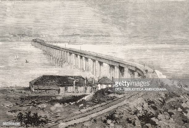 Tay Rail Bridge before the disaster on 2829 December 1879 Dundee Scotland United Kingdom engraving from L'Illustrazione Italiana No 2 January 11 1880