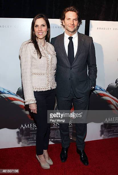 Taya Kyle and Bradley Cooper attend the 'American Sniper' Washington DC Premiere at the Burke Theater at US Navy Memorial on January 13 2015 in...
