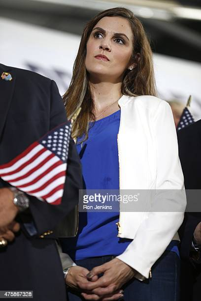 Taya Kyle widow of US Navy SEAL Chris Kyle waits for the arrival of former Texas Governor Rick Perry Perry who also ran for president in 2012 is the...