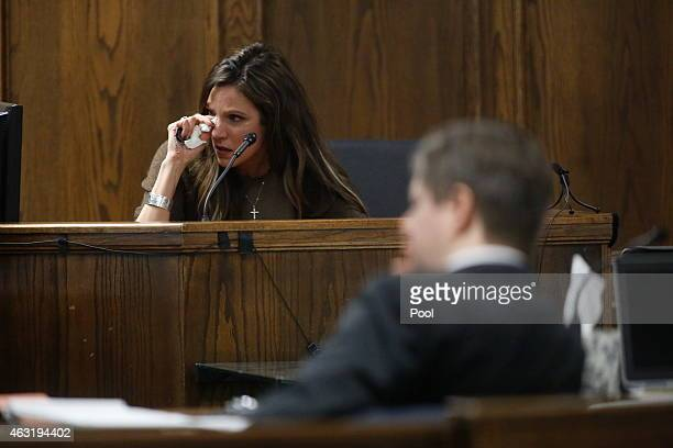 Taya Kyle wife of slain Navy SEAL Chris Kyle cries on the witness stand during the opening day of the capital murder trial of former Marine Cpl Eddie...