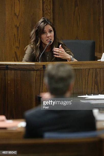Taya Kyle wife of slain Navy SEAL Chris Kyle is interviewed on the witness stand on the opening day of the capital murder trial of former Marine Cpl...