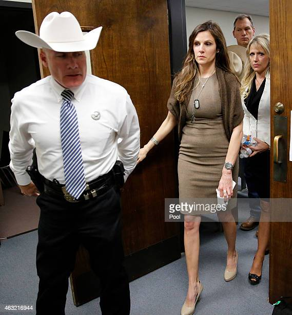 Taya Kyle wife of slain Navy SEAL Chris Kyle leaves the courtroom after the capital murder trial of former Marine Cpl Eddie Ray Routh at the Erath...