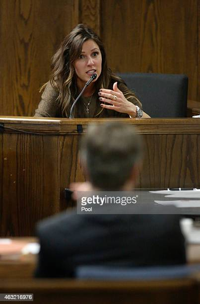 Taya Kyle wife of slain Navy SEAL Chris Kyle testifies on the witness stand during the capital murder trial of former Marine Cpl Eddie Ray Routh at...