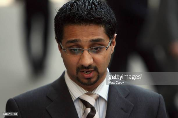 Tayab Ali lawyer for Salahuddin Amin one of the convicted terrorists speaks to the media outside the Old Bailey on April 30 2007 in LondonEngland...