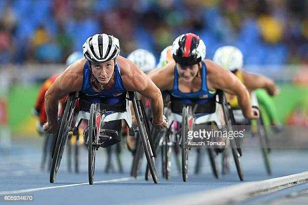 Tayana McFadden of the USA competes in the women's 5000m T54 final during the day 8 of the Rio 2016 Paralympic Games at the Olympic stadium on...