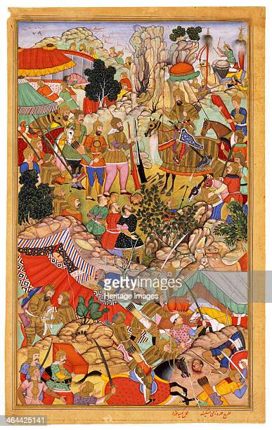 Tayang Khan Presented with the Head of the Mongol Leader Ong Khan Miniature from Jami' altawarikh c 1596 Found in the collection of the The David...