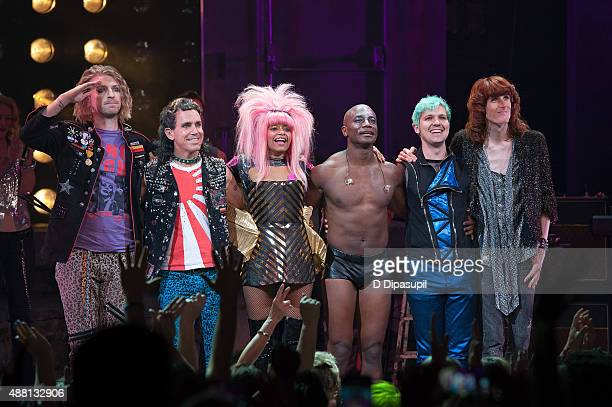 Taye Diggs and cast members take their curtain call at the 'Hedwig and the Angry Inch' Broadway final performance at the Belasco Theatre on September...