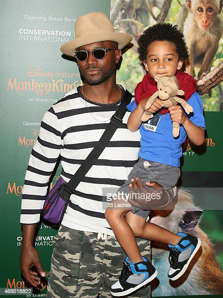 Taye Diggs and Walker Diggs attend the world premiere of Disney's 'Monkey Kingdom' at Pacific Theatres at The Grove on April 12 2015 in Los Angeles...