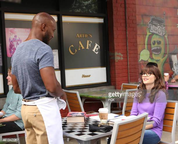 """Taye Diggs and Zooey Deschanel in the """"Coach"""" episode of NEW GIRL airing Tuesday, Nov. 5, 2013 on FOX."""