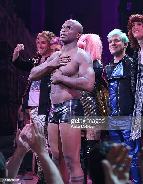 Taye Diggs during his debut performance curtain call in Broadway's 'Hedwig And The Angry Inch' at the Belasco Theatre on July 22 2015 in New York City