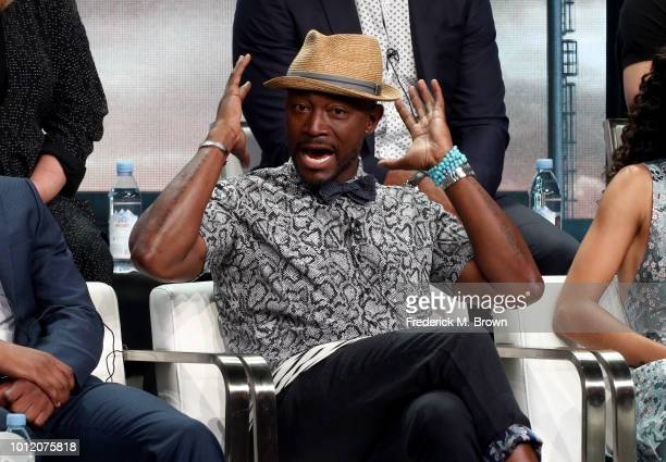 """Taye Diggs from """"All American"""" speaks onstage at the CW Network portion of the Summer 2018 TCA Press Tour at The Beverly Hilton Hotel on August 6,..."""